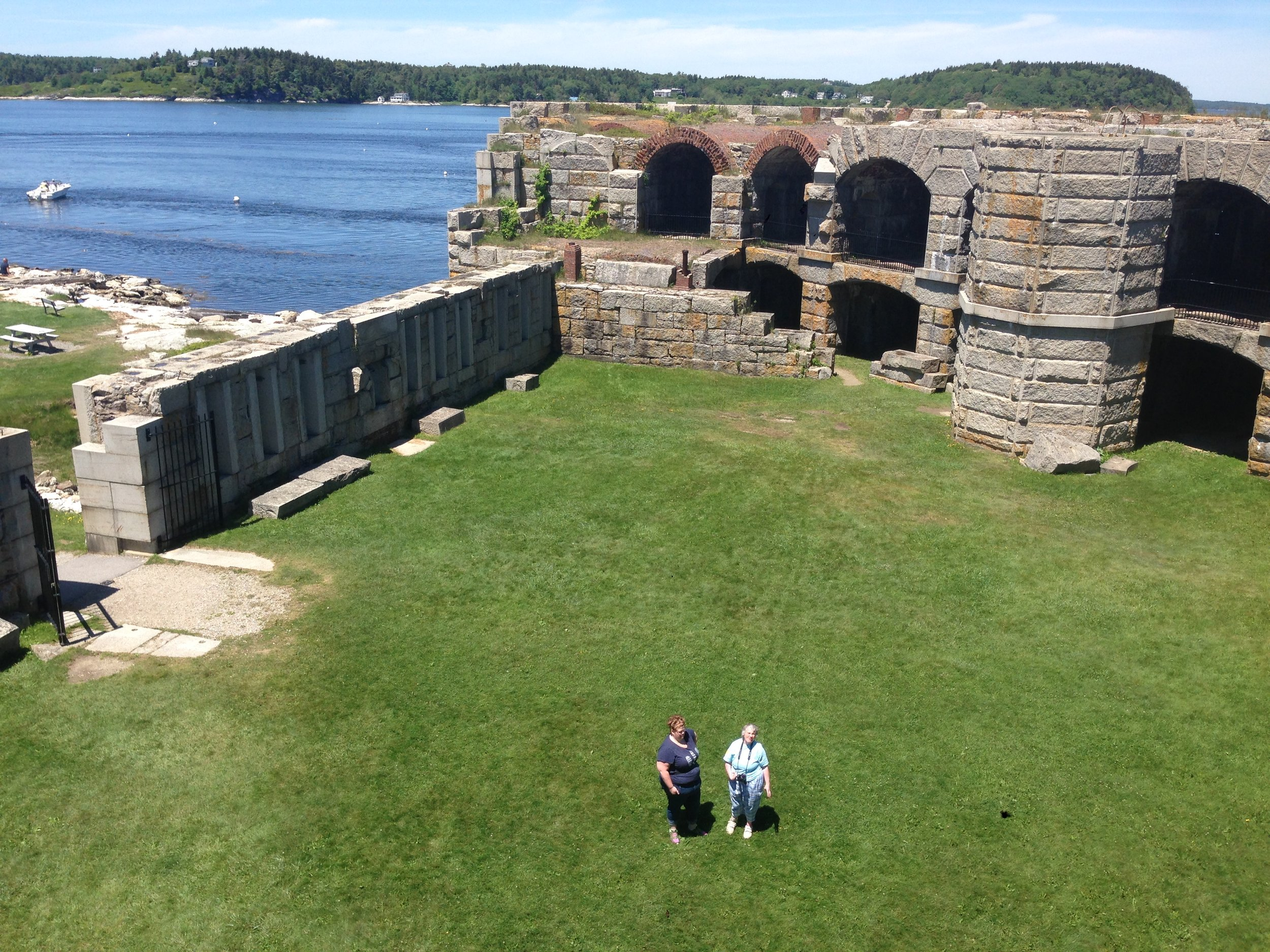 Denae and Nancy B. from the top tower of Fort Popham!