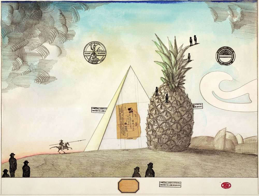 Saul Steinberg. Untitled (Pineapple). c. 1970. Pencil, colored pencil, collage, watercolor, ink, and rubber stamp on lithograph. Private collection. © The Saul Steinberg Foundation / Artists Rights Society (ARS), New York