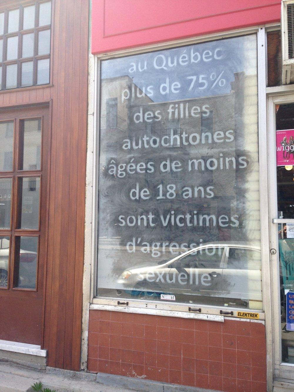 je me souviens week 2: OUTREMONT  Le texte pour l'œuvre présentée ici est tiré du rapport : À la recherche des femmes autochtones du Québec , Conseil du statut de la femme, Gouvernement du Québec. Sept 2016. p.38