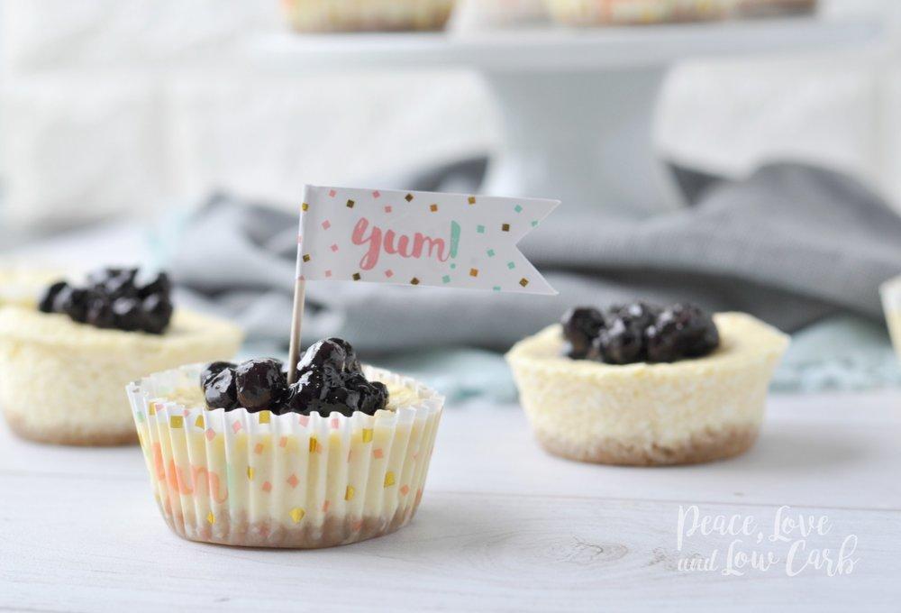 Mini Keto Blueberry Cheesecakes from PeaceLoveAndLowCarb.