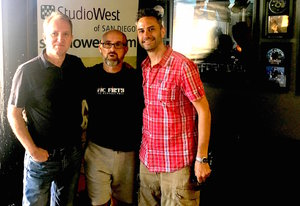 Studio West owner Peter Dyson, Mike Dolbear, and Drum Ambition owner Simon DasGupta.