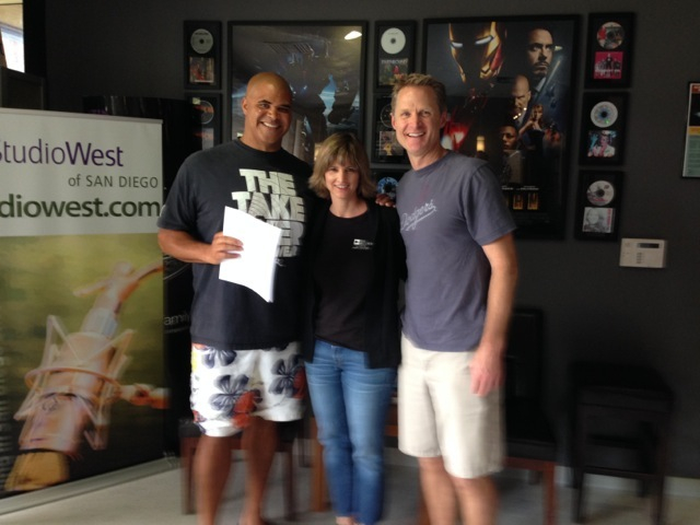 Former NFL player Aaron Taylor, Studio West's Amy Dyson, and Steve Kerr on May 14, 2014, the day Steve was named head coach of the Golden State Warriors.