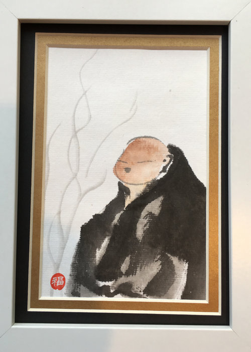 Small Original Sumi-e Painting - Buddha (frame included) — Tsun Ming ...