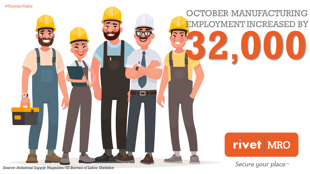 October Manufacturing Employment Up Tuesday Tidbit by Rivet MRO Industrial Marketing Agency and Industrial Distributor Co-op Consultant.png