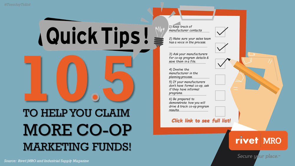 10.5 Co-op Marketing Tips for Independent Industrial Distributors Tuesday Tidbit by Rivet MRO Industrial Distributor Marketing Agency and Co-op Marketing Consultant.png