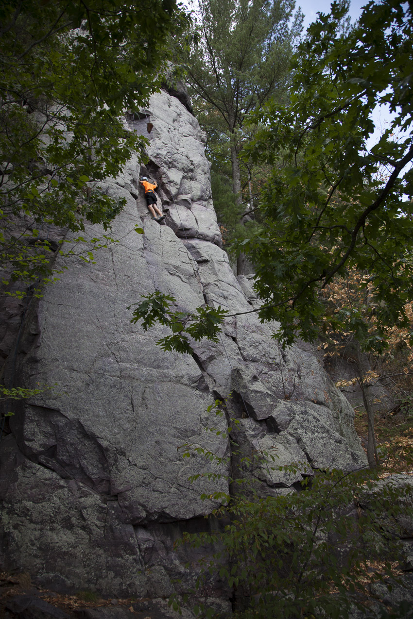 Isaac puzzles out the second crux on The Bone (5.5)