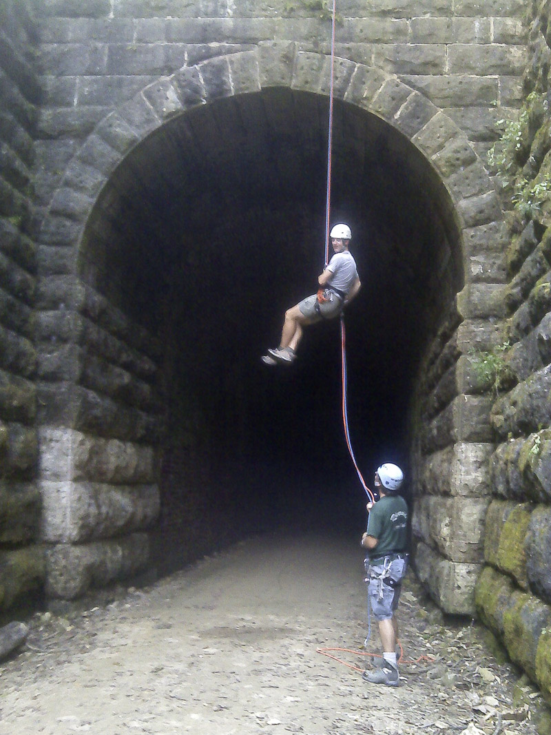 Our last, free-hanging rappel from the tunnel apex