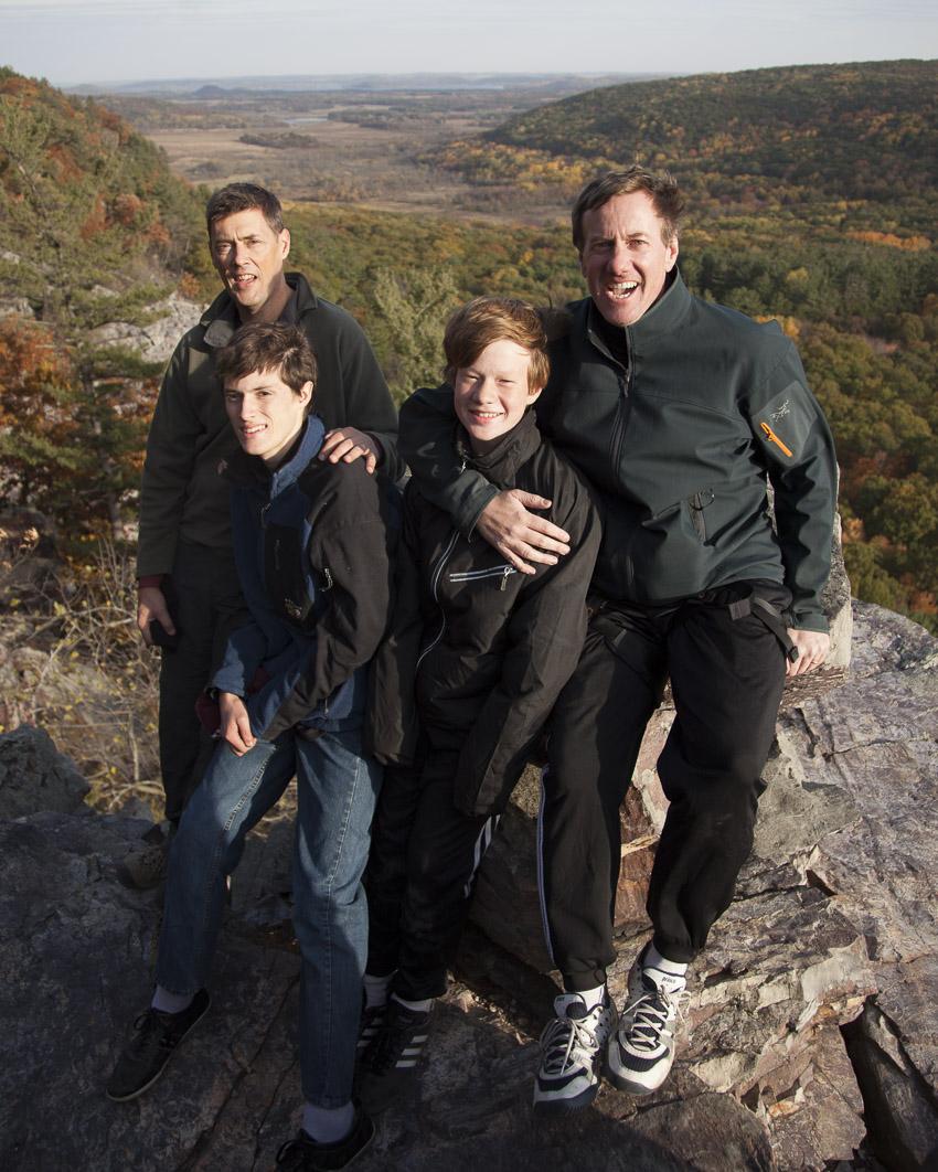 Bob, Tommy, Sam, and Leo atop Psuedo Hawks Nest