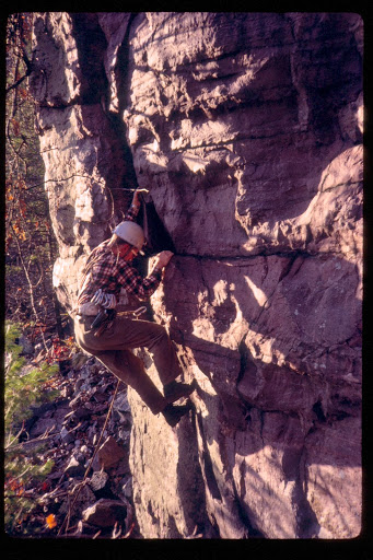 Steve Derenzo leading Peter's Project, before sticky rubber and cams. Photo: Richard Gladstone
