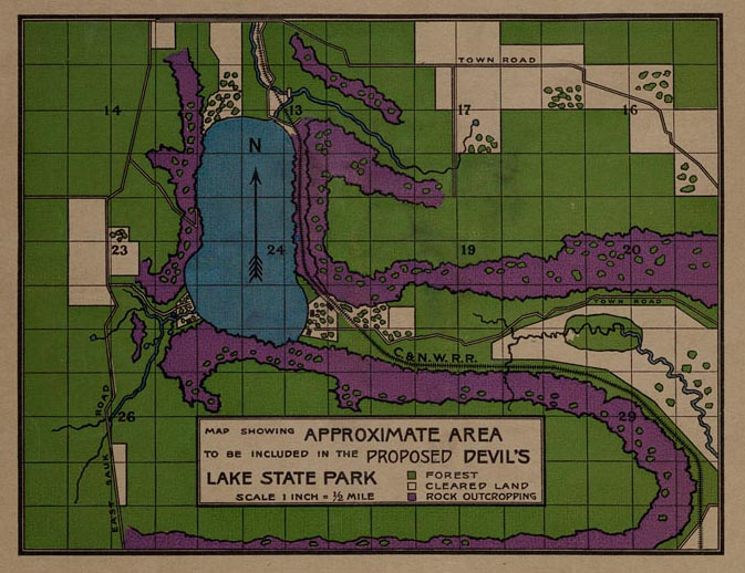 """Map from the 1906 """"An Appeal for the Preservation of the Devil's Lake Region"""""""