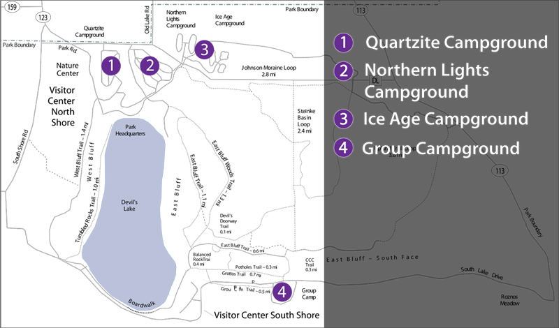 Campground locations at Devils Lake State Park
