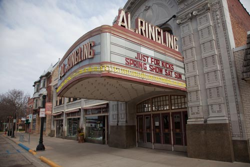 The exterior of the Al Ringling Theatre on the square in downtown Baraboo, Wisconsin.