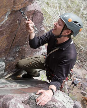Dawson Robb leads Sunken Pillar (5.5) at the Balanced Rock Wall.