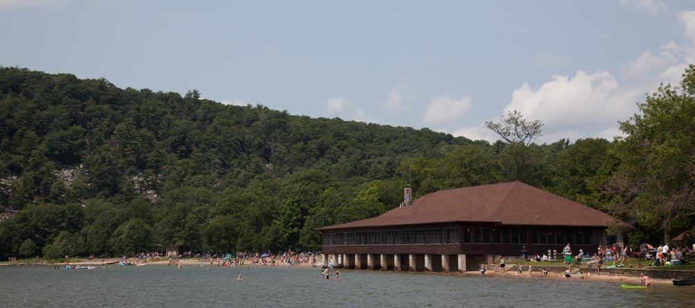 The Chateau and the North Shore Beach at Devil's Lake State Park.