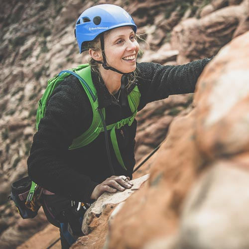 Sarah Geers climbing in Red Rock NCA.