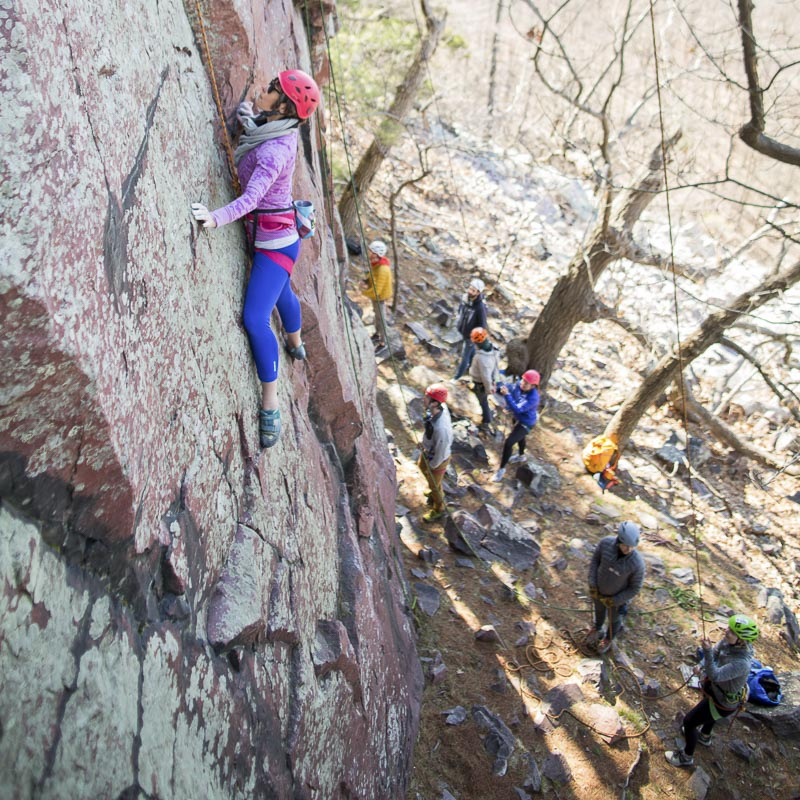 Gretchen from  Rock Mill  in Akron, OH climbing Alpha Centauri (5.10d) at Hawk's Nest. Photo: Sharon Vanorny