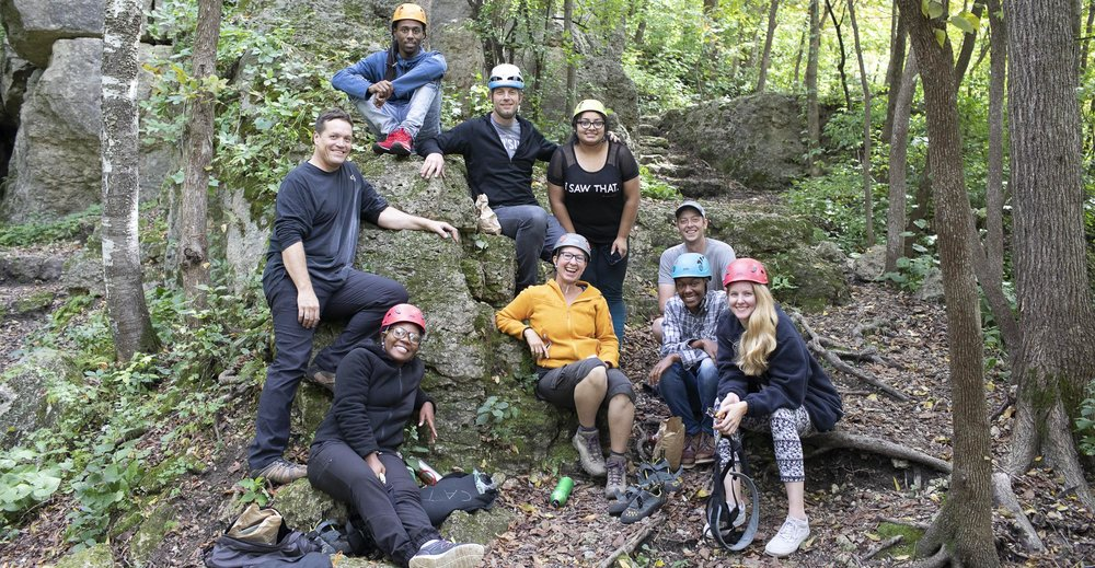 All smiles with the Chicago Adventure Therapy crew at Mississippi Palisades State Park, IL.