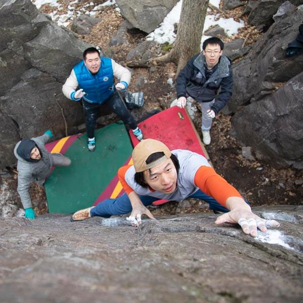 Bouldering at the Oil Can area at Devil's Lake.