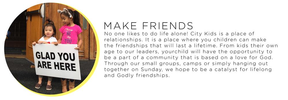 children make friends at church