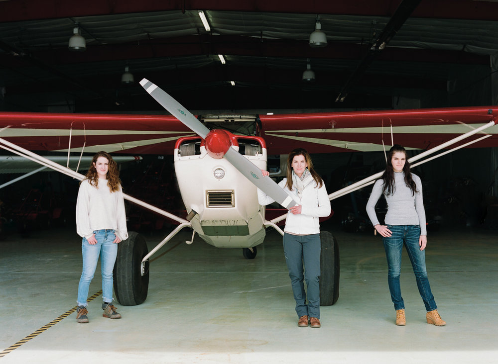 Lori Olson with her twin daughters, who were one of her biggest motivators for Lori to pursue her dream to fly.