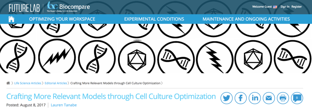 Crafting More Relevant Models through Cell Culture Optimization, Editorial, BioCompare, August 8, 2017 -