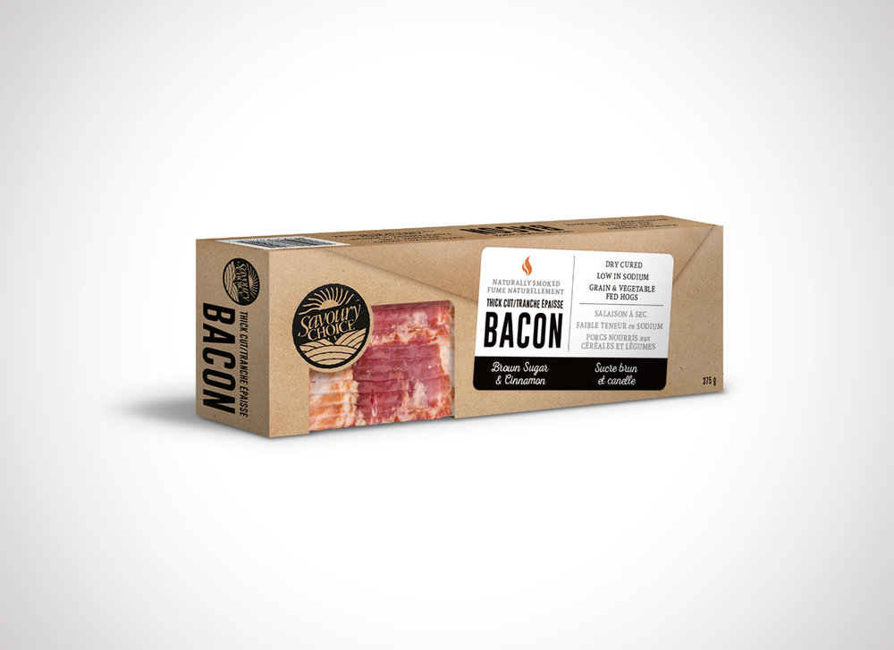 savoury choice bacon packaging design