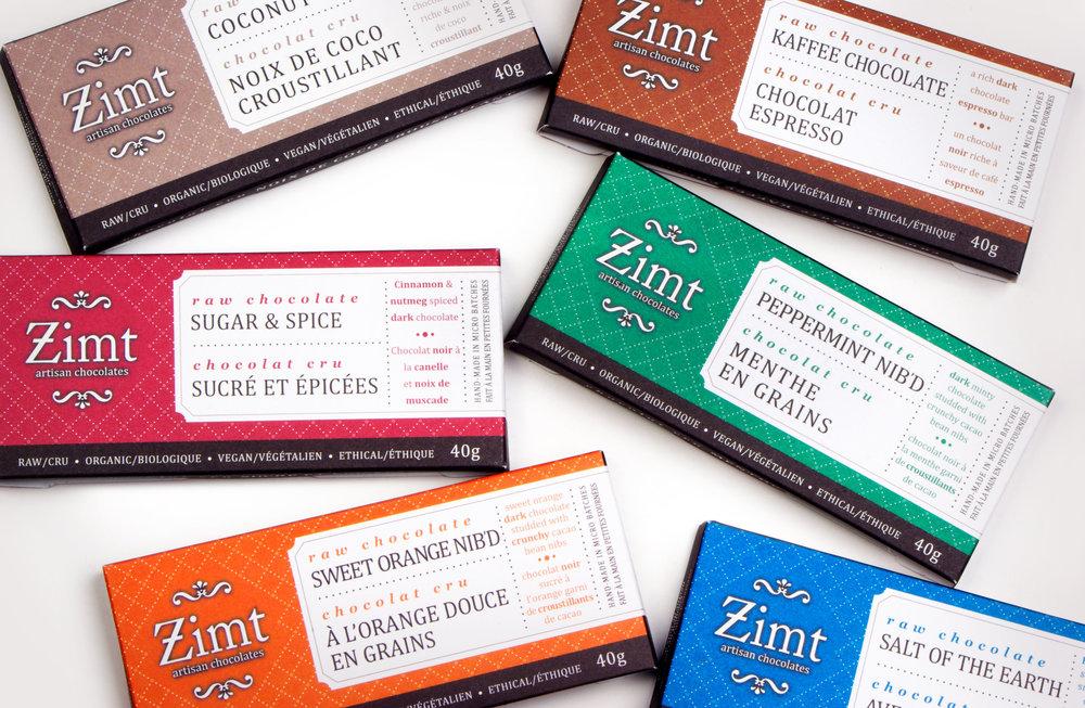 zimt artisan chocolates packaging design