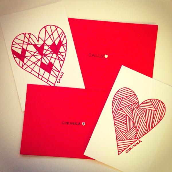 Hand drawn Valentines for my 2 bffs.