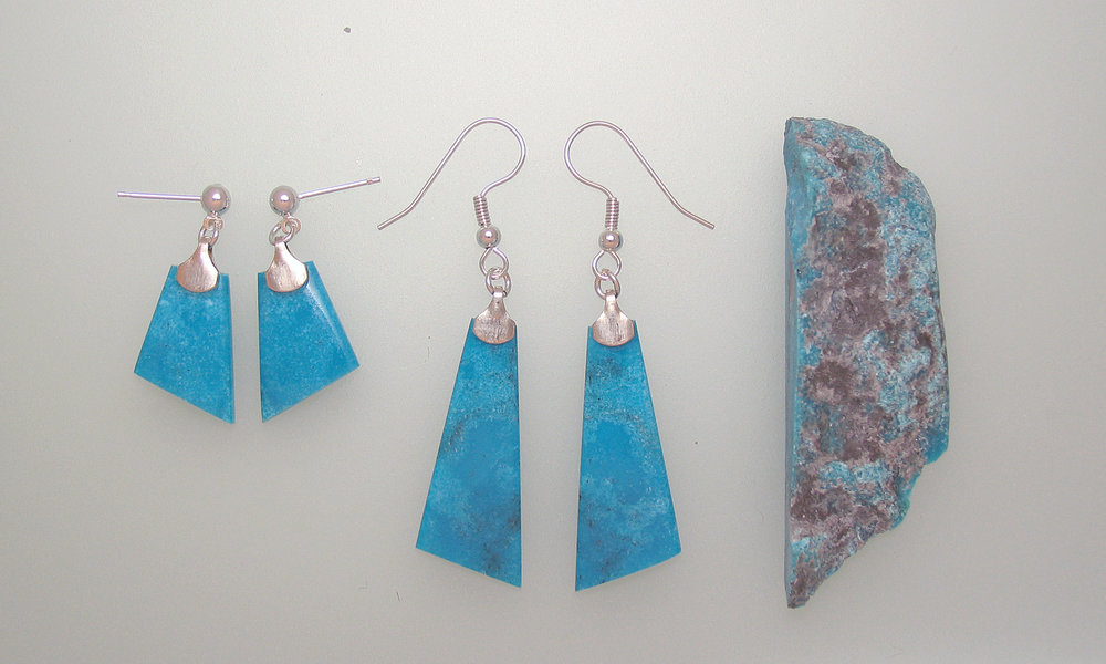And here is an example of the before and after showing the rough native material and two pair of earrings created from that piece.