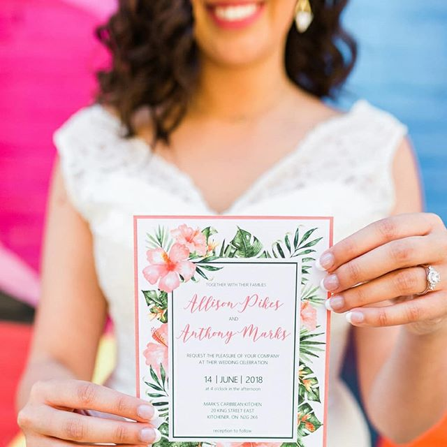 This invitation was hand painted by our friends over at @teamgeedesigns. These lush botanical images set the tone for this Tropical soiree. . . . Planning & Coordination: @daniellegevents Photography: @arianadelmundo Floral and Décor: @jheventartistry Flatware/Glassware/Chairs/Chargers: @abcpartytime Hair Stylist: @tiffanymeatherall Makeup Artist: @facesbynadeen Pillows: @gofluffyourselfdesigns Cake Design: @refinedsugarcakes Videography: @carolspooner.portraits Venue: @markscaribbean Stationery: @teamgeedesigns Dress: @camillarosebridal Jewelry Designer & Model: @keonaboutique Table Linen: @aweevents_decor . . . . #customstationery #botanicals #botanicalpaintings #weddingseason #weddinginvites #weddingstationery #personalizedwedding #personalizedweddinggifts #weddingplanner #eventdesign #designs #kitchenerweddingplanner #tropicalwedding #destinationweddingplanner #markscaribbeankitchenandseafood