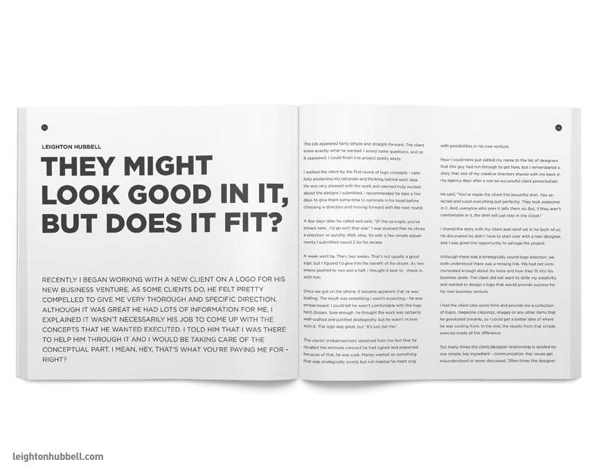 The opening spread to my contributing article entitled,   They might look good in it, but does it fit?