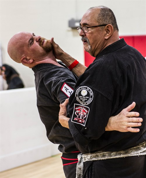 GM JPN teaching at Last Man Standing in Dallas, 2016, working with shihan Mike Bush