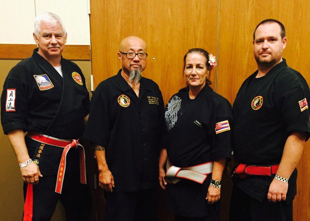 "(L-R) Professor Nick Chamberlain, Grand Master George ""Papa"" Lim, Grand Master Patrice Lim, Grand master Nuno Nunez"