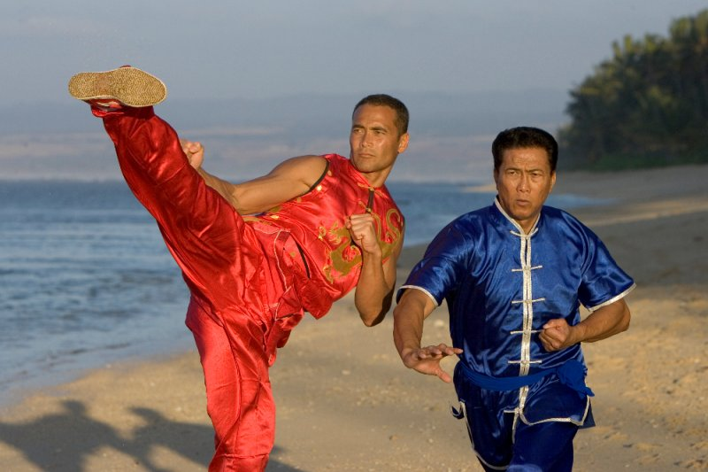 Mark Dacascos (red) with his father Al Dacascos (blue)