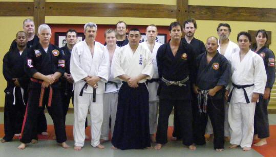 Hico Ryu Taijutsu Seminar in Dallas, Texas!   (front L-R)Nick Chamberlain, Bill Parker, Kiyoshi Takeuchi, Ted Gambordela, Rollend Nery, Will Schutt