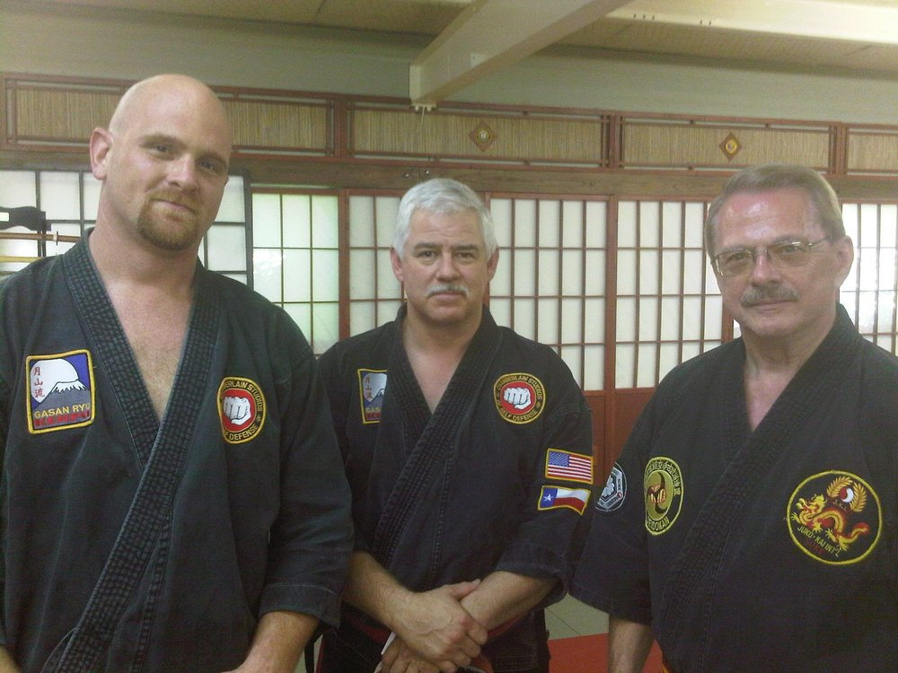 "Shihan Mike with GM Chamberlain and soke Ron Sachronowski during the filming of ""The Human Shield"" with Kirby Roy on Stan Lee's Superhumans TV show!"