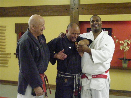 Shihan Rollend with Professor Ernie Cates and sensei Phill Fields during a particularly painfullNeco Ryu Jiu-Jitsu workshop!