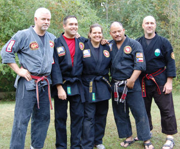Professor Chamberlain, senseis Steve & Diana Whiting from Colorado, Shihan Nery & Shihan George Thibault from Massachusetts.