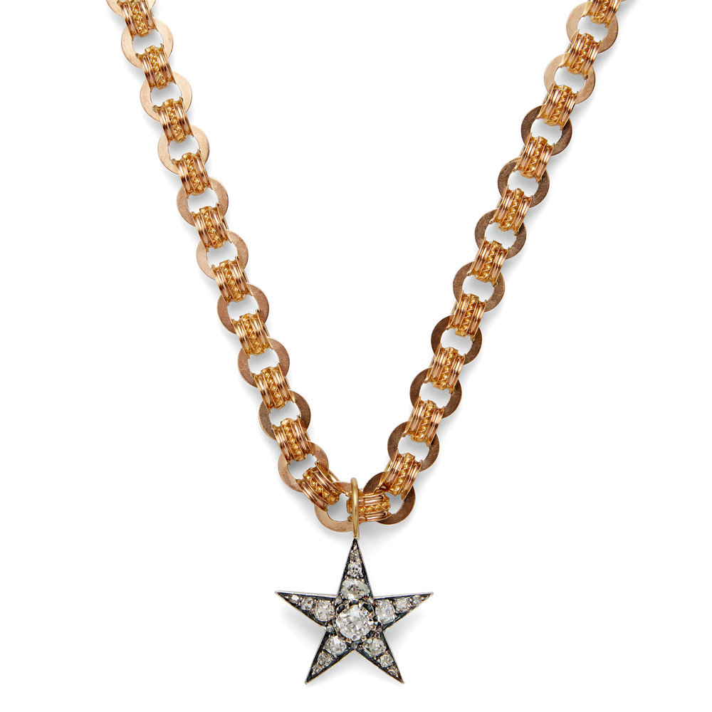 "THE AMELIE Diamond star pendant set on a thick 18"" yellow gold chain from the Victorian period"