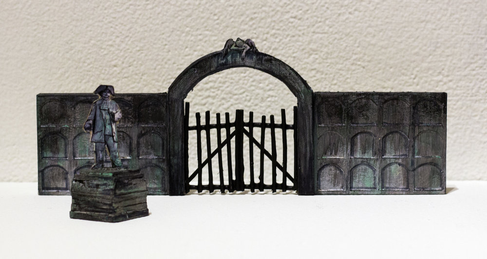 Set pieces that would be placed on stage for the graveyard scene: based off Spanish-style graves that are typically organized as individual vaults in a stone wall.
