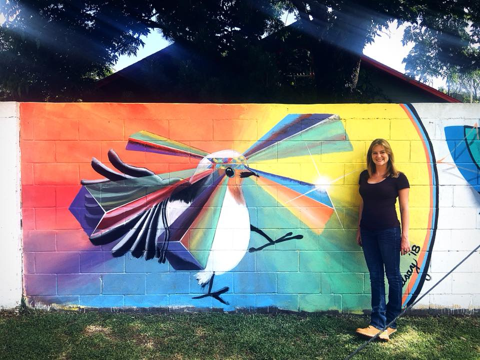 Glamorous Or Not Blogger Stephanie Burck Next to Mural in Houston, Texas