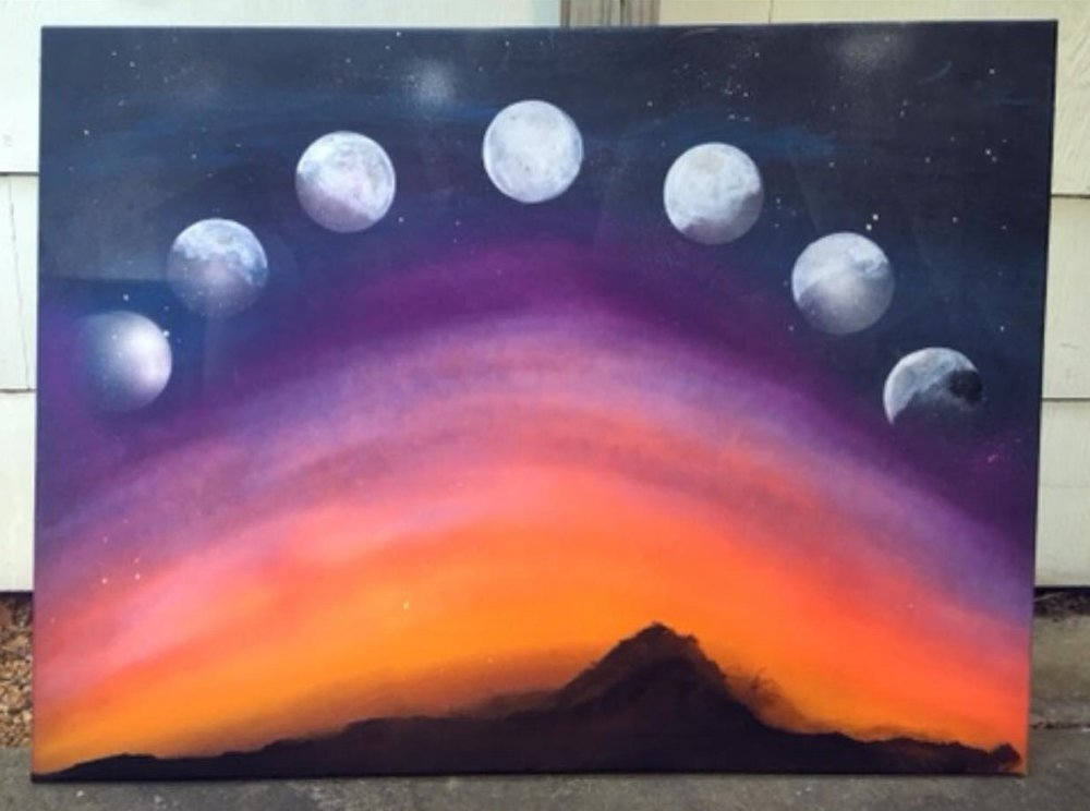 Healing Moon Painting - Colorful Art Houston Texas - Decorative Artwork