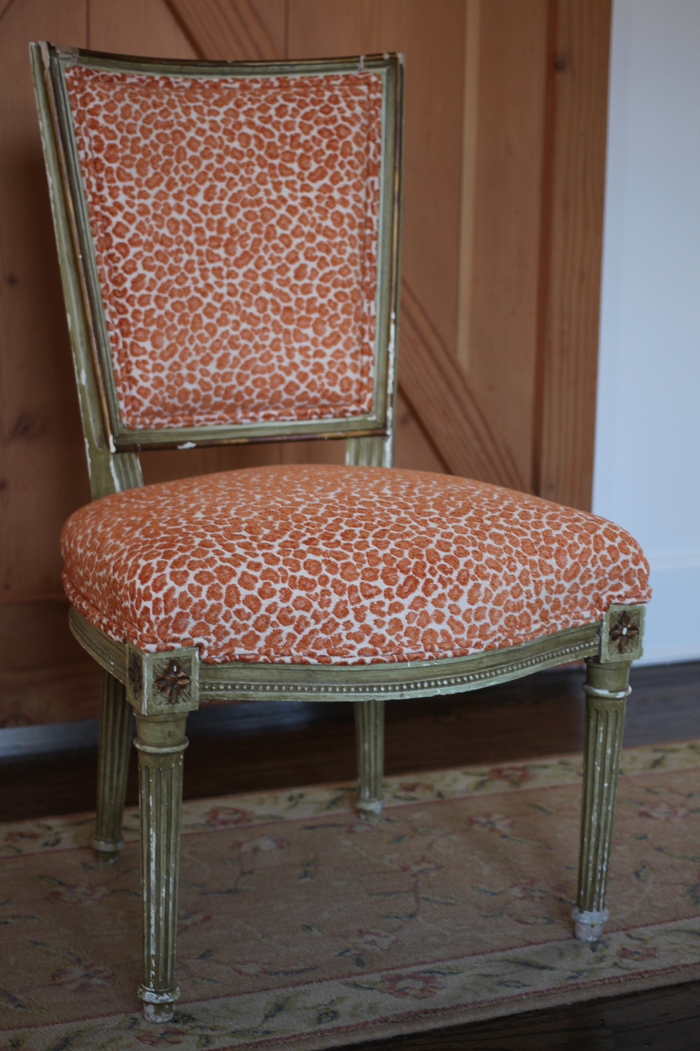 frenh chair, Traditional upholstery, covered in stout textiles' 'beast'