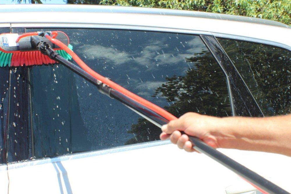 The Power Water Blasting System is easy to use. Simply brush onto the car windows through the hose attachment