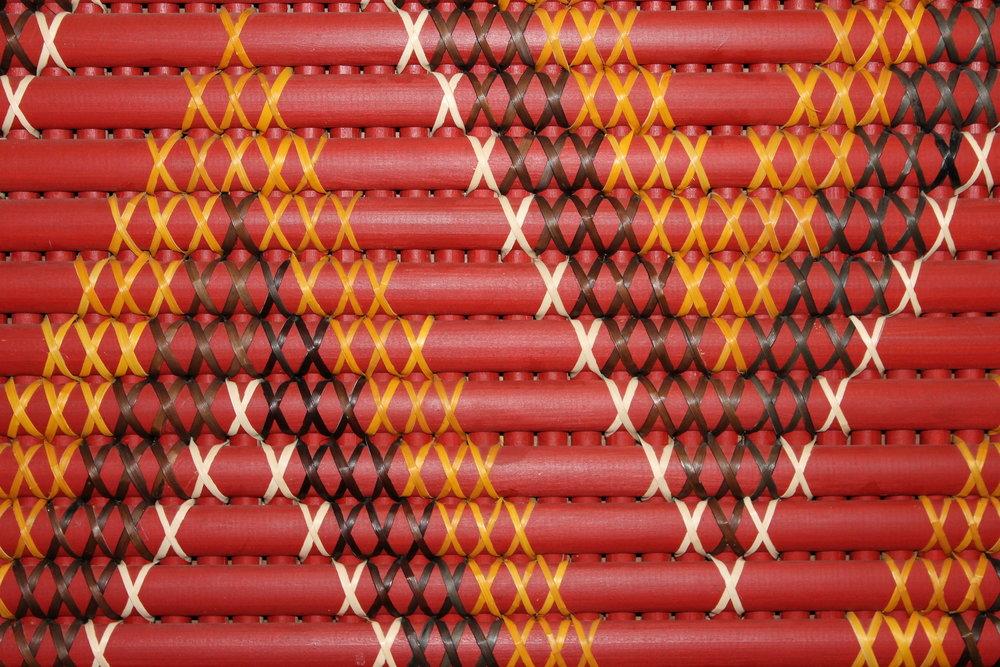 A traditional Tukutuku pattern inside Omaka Marae.
