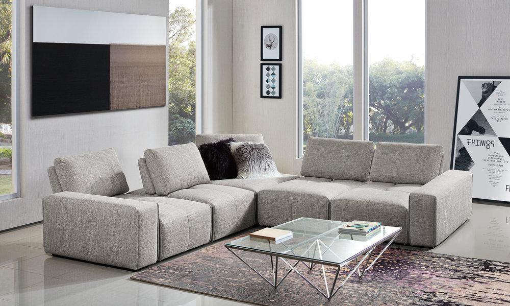 7PC Configuration (4 x Armless Chair, 2 x Arm, Corner)