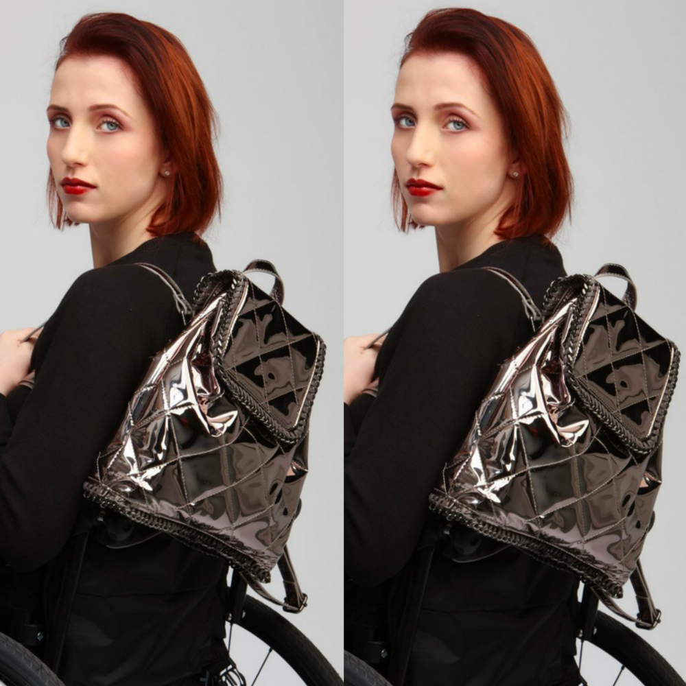 WHEELIE-CHIX CHIC BACKPACK €60.00    This brand has been around since 2007. It's one of the brands that launched during my year as the PJ Deejay. They sell clothing and accessories for women who use wheelchairs.