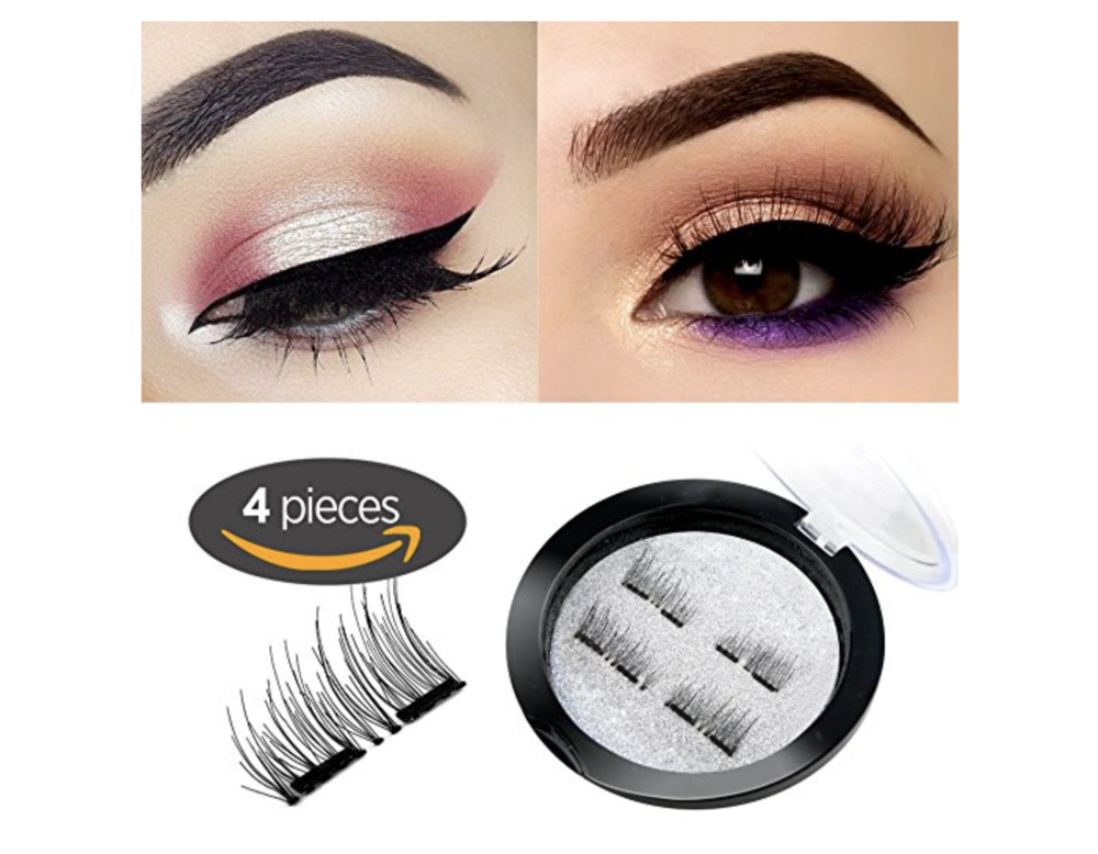 DUAL MAGNETIC FALSE EYELASHES $12.99    Lashes are still on trend, but if you know someone like me, who struggles with putting them on correctly this is a great option. There are several brands on Amazon and Walmart if you don't like this set.