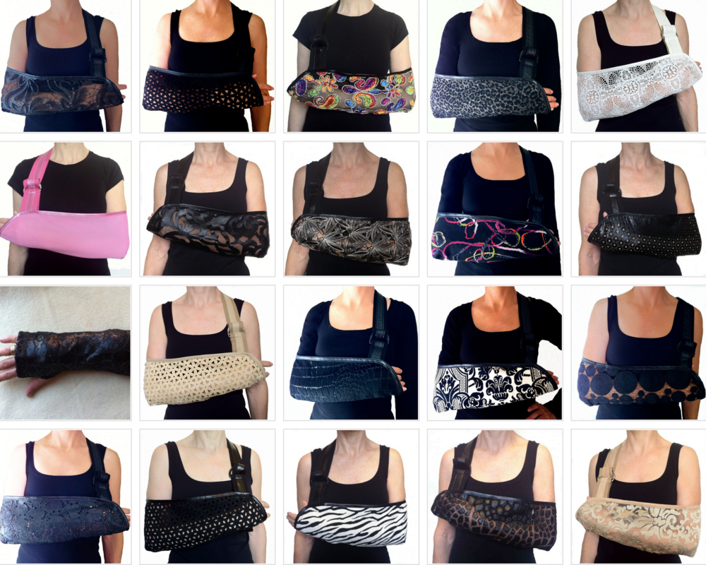 NOT BLUE DESIGNS ARM SLINGS AND WRIST BRACE    Gone are the days that arm slings have to be boring. Not Blue Designs, sells a variety of slings for women and men. Pricing starts at about $25.00.