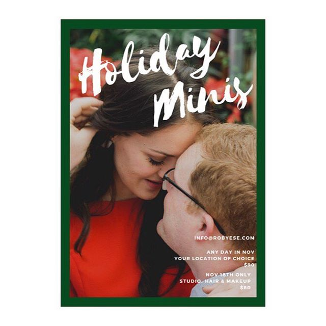 Holiday mini sessions ⛄️two different options. One whenever and wherever you please, with prints. The other one day only, studio and hair & makeup. Email at info@robyese.com